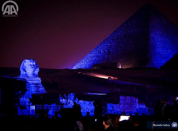 Pyramids turns blue for world autism day