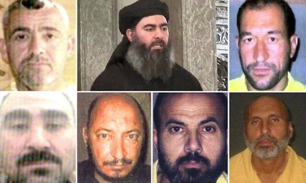 From top left clockwise: Fadel al-Hiyali, Ibrahim al-Badri (Abu Bakr al-Baghdadi), Adnan al-Bilawi, Samir al-Khlifawi (Haji Bakr), Adnan as-Suwaydawi (Abu Ayman al-Iraqi), Hamid az-Zawi (Abu Omar al-Baghdadi), Abu Hajr as-Sufi